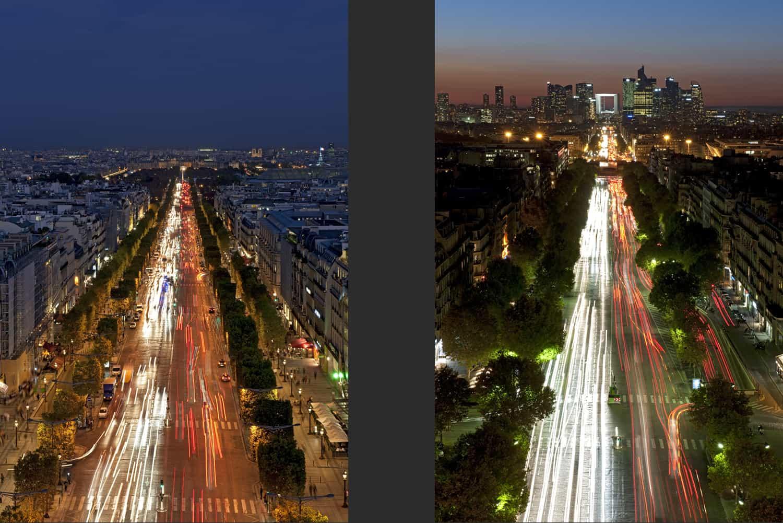 Vues depuis l'Arc de Triomphe de Paris vers la Concorde et vers la Défense