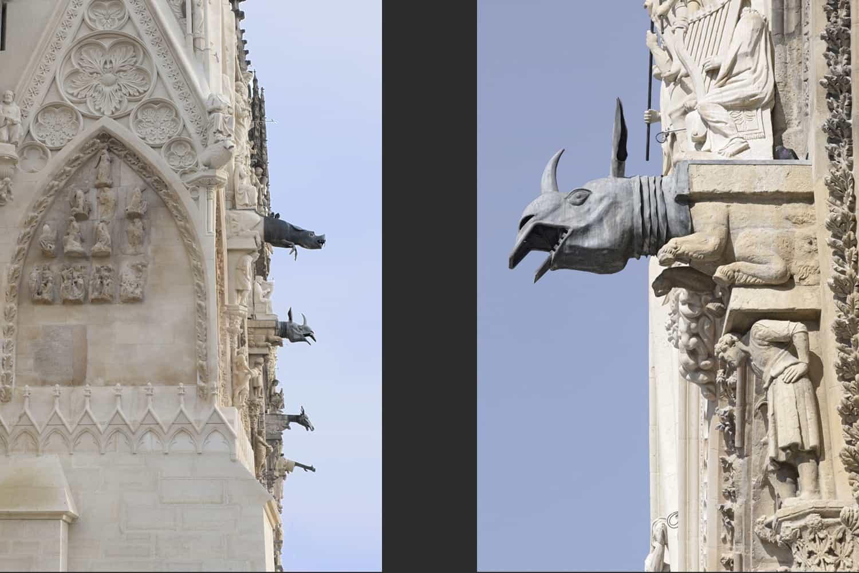 Cathédrale de Reims façade occidental et gargouilles contrefort nord + gargouilles