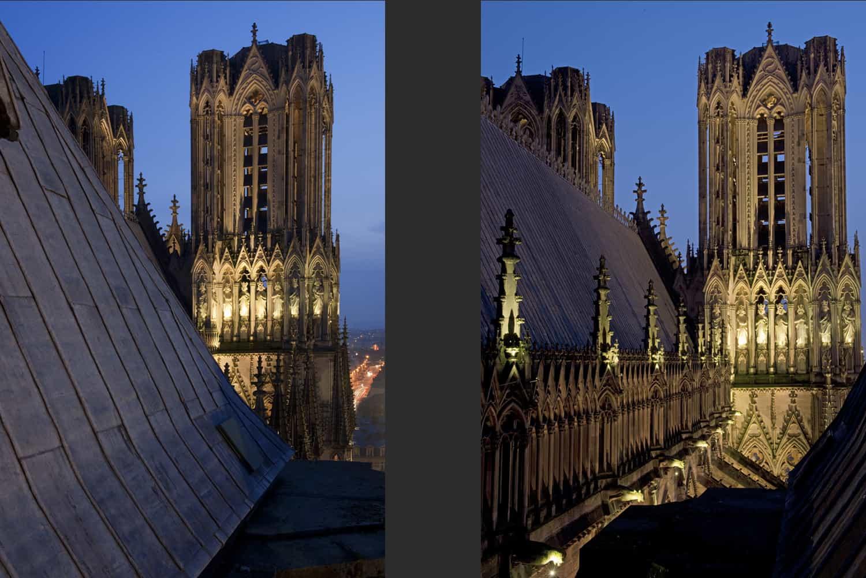 Cathédrale de Reims de nuit, parties hautes du flanc nord de la nef