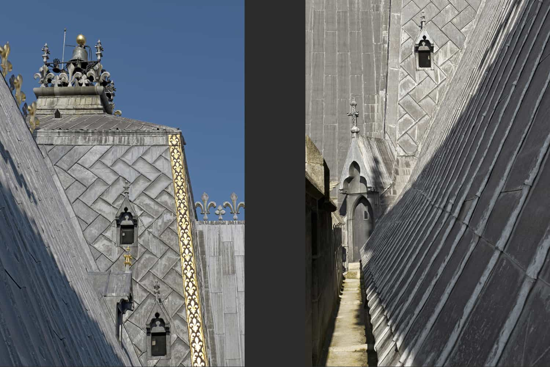 Cathédrale de Reims parties hautes, clocher central + détail parties hautes