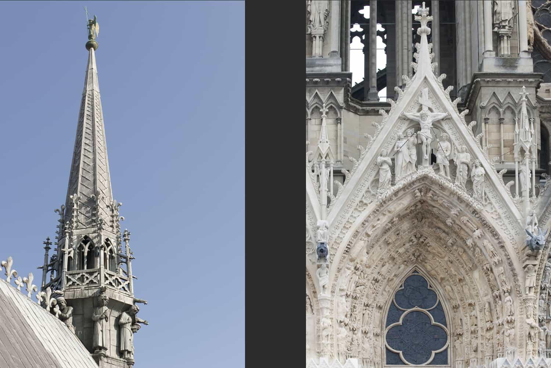 Cathédrale de Reims flèche du chevet + façade occidentale portail nord