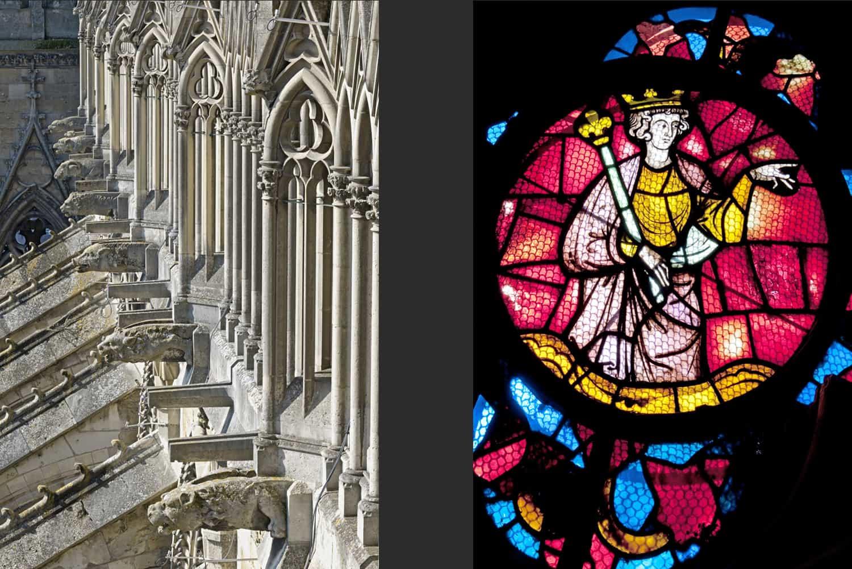 Arcs boutants du flanc sud de la nef + Roi de l'Ancien Testament