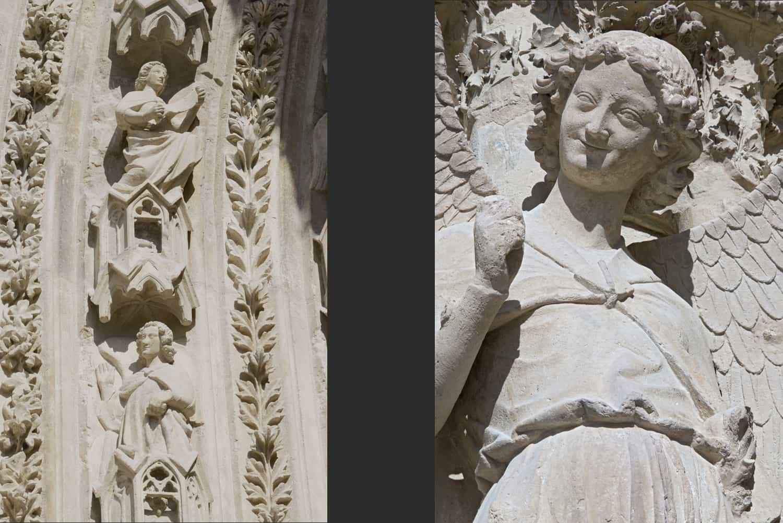 Cathédrale de Reims façade occidentale portail sud + détail de» l'ange au sourire»