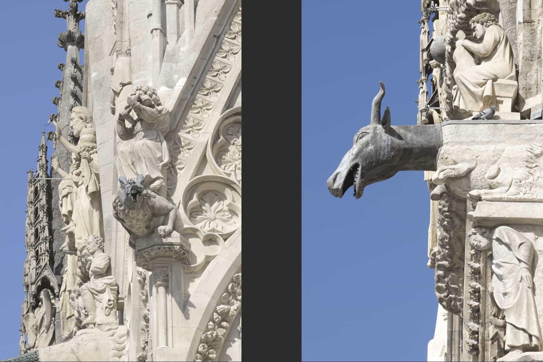 Cathédrale de Reims façade occidentale contrefort sud + gargouille