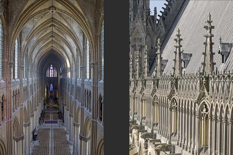 Cathédrale de Reims nef vue vers le choeur + arcature supérieure du flanc sud de la nef